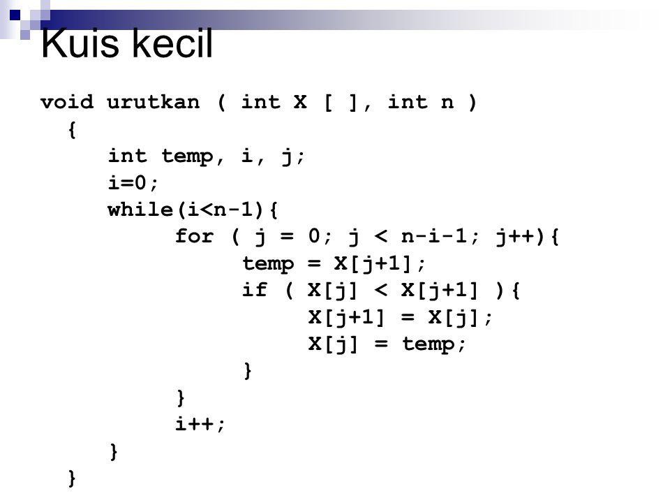 Kuis kecil void urutkan ( int X [ ], int n ) { int temp, i, j; i=0;
